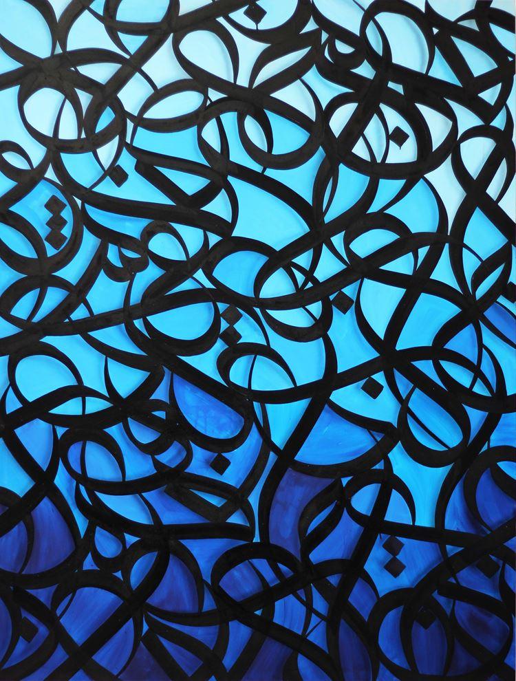 Выставка «Love Paris» художника эЛь Сида в Le Royal Monceau-Raffles - картина синим цветом
