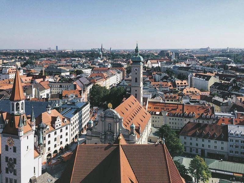 Красивые города юга Германии: Мюнхен, вид сверху на город