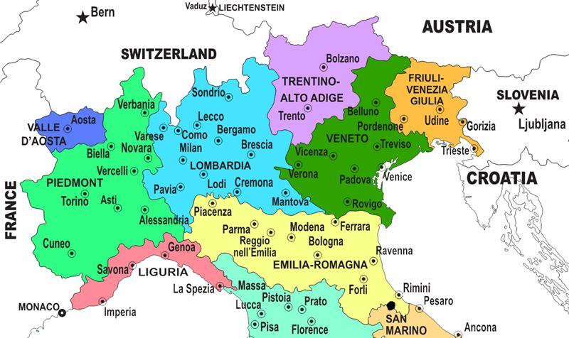 Северная Италия - карта с городами и регионами