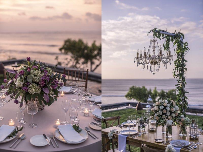 Свадьба на Бали с Four Seasons Resort Bali at Jimbaran Bay - праздничный стол на берегу океана