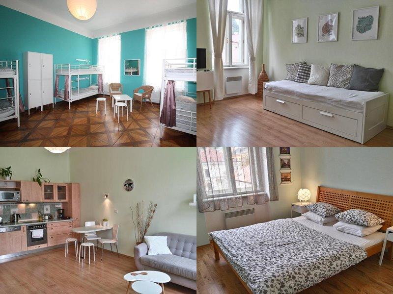 Лучшие хостелы Праги - Adam&Eva Hostel - номера с зелено-серых тонах