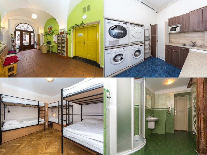 Лучшие хостелы Праги - Hostel Mango - номера с зелеными стенами и деревянными полами