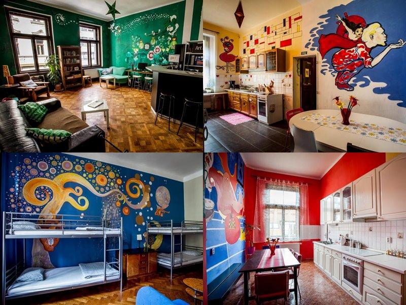 Лучшие хостелы Праги - Art Hole - арт-дизайн хостел с рисунками на стенах