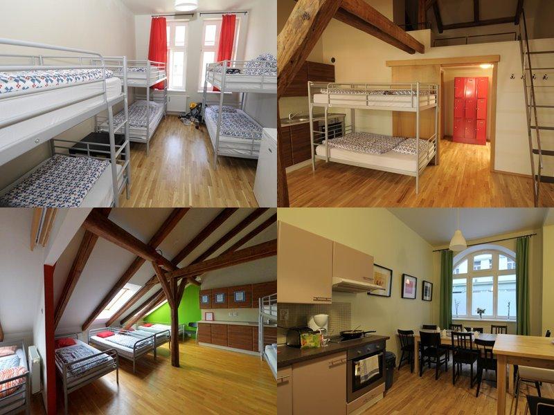 Лучшие хостелы Праги - Hostel One - деревянный интерьер с металлическими двухъярусными кроватями