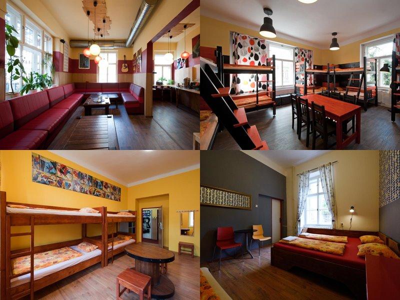 Лучшие хостелы Праги - Hostel Elf - красно-желтый дизайн интерьера