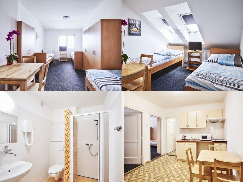 Лучшие хостелы Праги - Alfa Hostel - номера с белыми стенами и деревянной мебелью