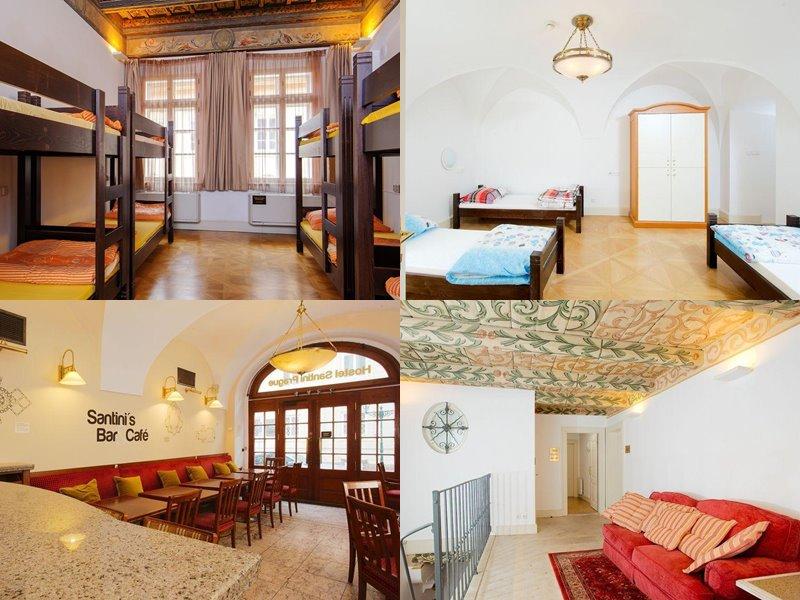 Лучшие хостелы Праги - Hostel Santini Prague - уютный интерьер с красными диванами и деревянными кроватями