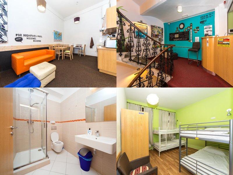 Лучшие хостелы Праги - Hostel Orange - контрастный дизайн интерьера с яркими стенами