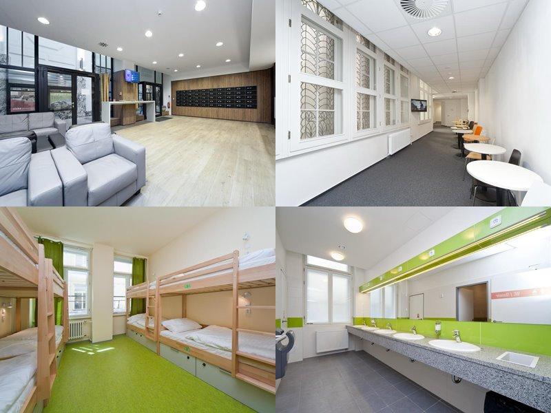 Лучшие хостелы Праги - Hostel Ananas - бело-салатовый дизайн интерьера номеров