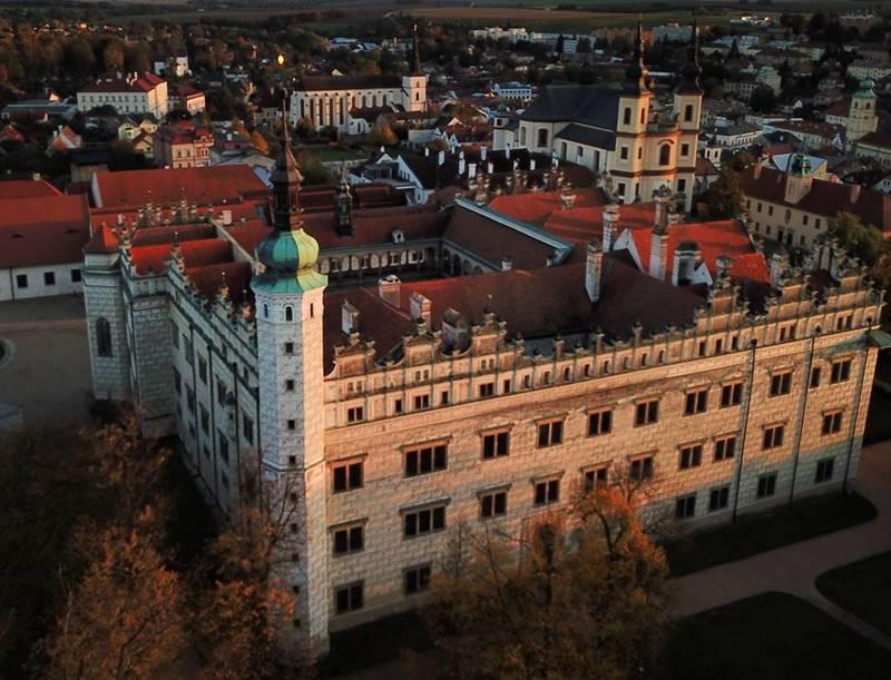 Красивые города Чехии: вид сверху на замок Литомишль