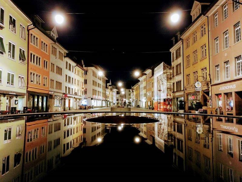 Красивые города Швейцарии: вечерний Винтертур