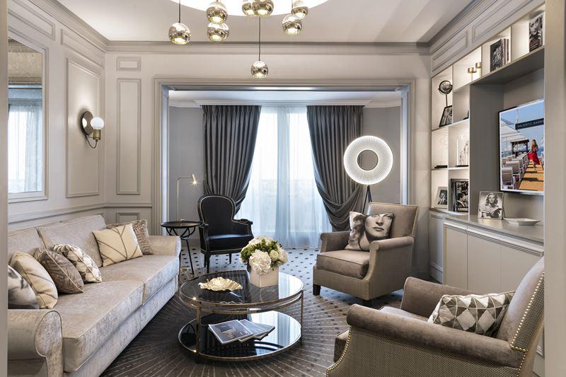 Hotel Barrière Le Majestic Cannes - сьют Michèle Morgan - дизайн интерьера номера