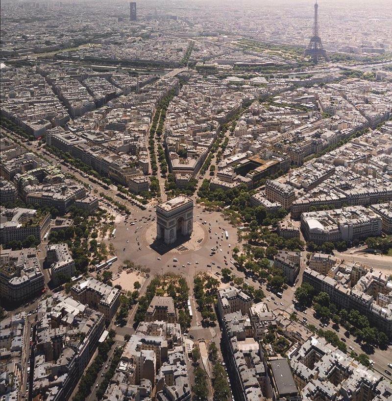 Крупные и красивые города Франции: вид сверху на Париж и площадь Шарля де Голля с Триумфальной аркой