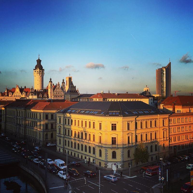 Крупные и красивые города Германии - Лейпциг - закат