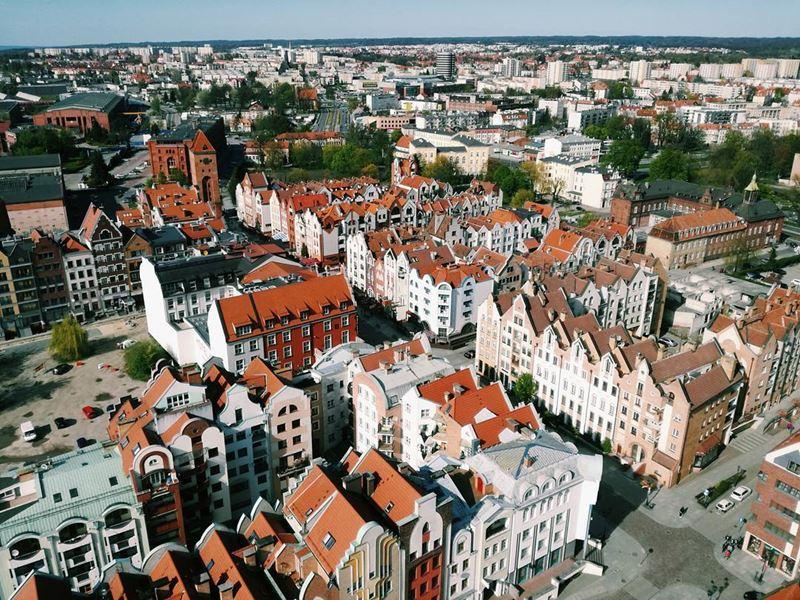Крупные и красивые города Польши - Вид сверху на Эльблонг