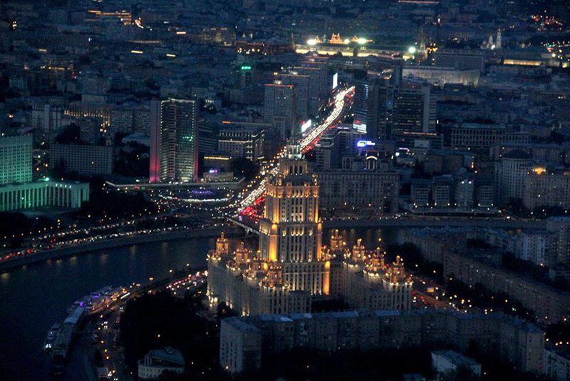 Смотровая площадка Panorama 360 - вид на вечернюю Москву