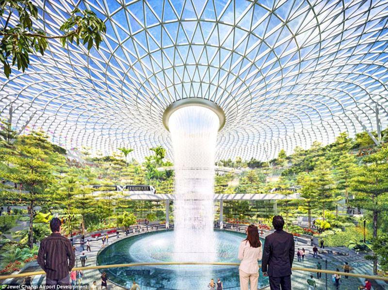 Аэропорт Сингапура Чанги и самый большой искусственный водопад в мире