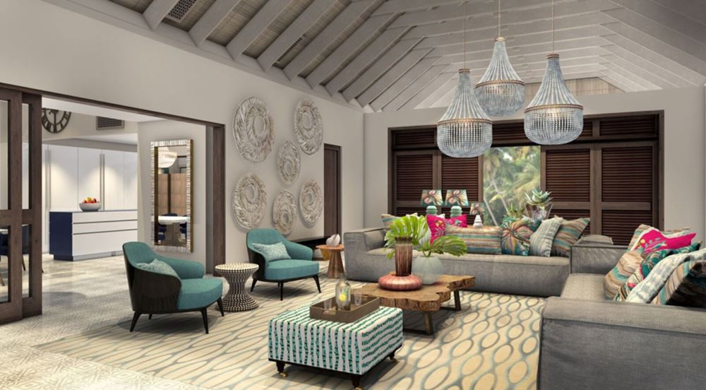 Отель Four Seasons Resort Seychelles at Desroches Island - президентская вилла в серо-бежево-бирюзовых тонах