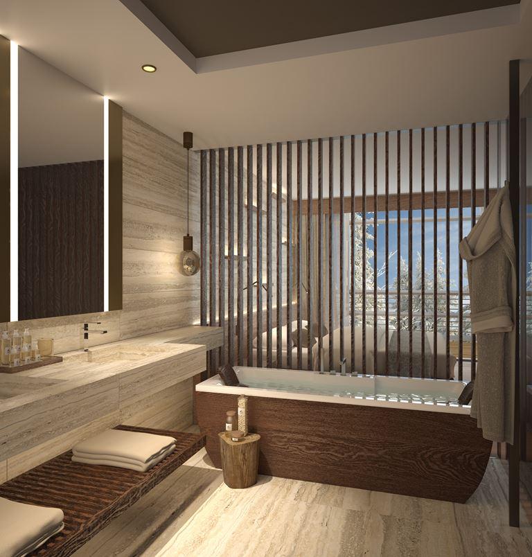 Lefay Wellness Residences от Lefay Resorts в Доломитах - ванная комната с отделкой из натурального дерева