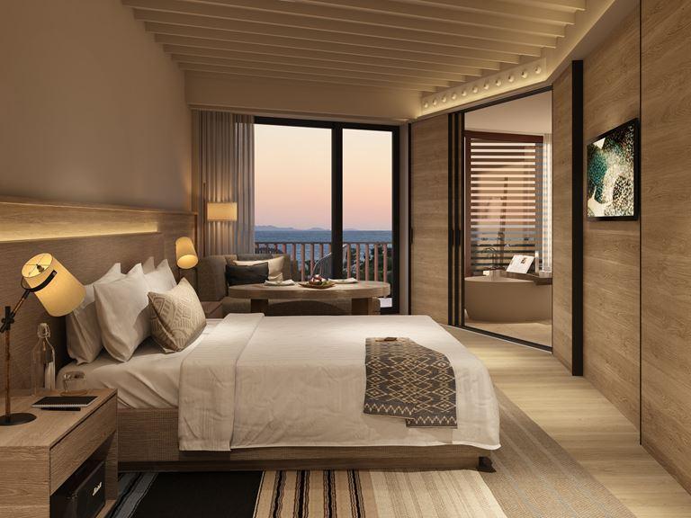 Six Senses Kaplankaya (Бодрум, Турция) - номер отеля в светлых тонах - дизайн интерьера