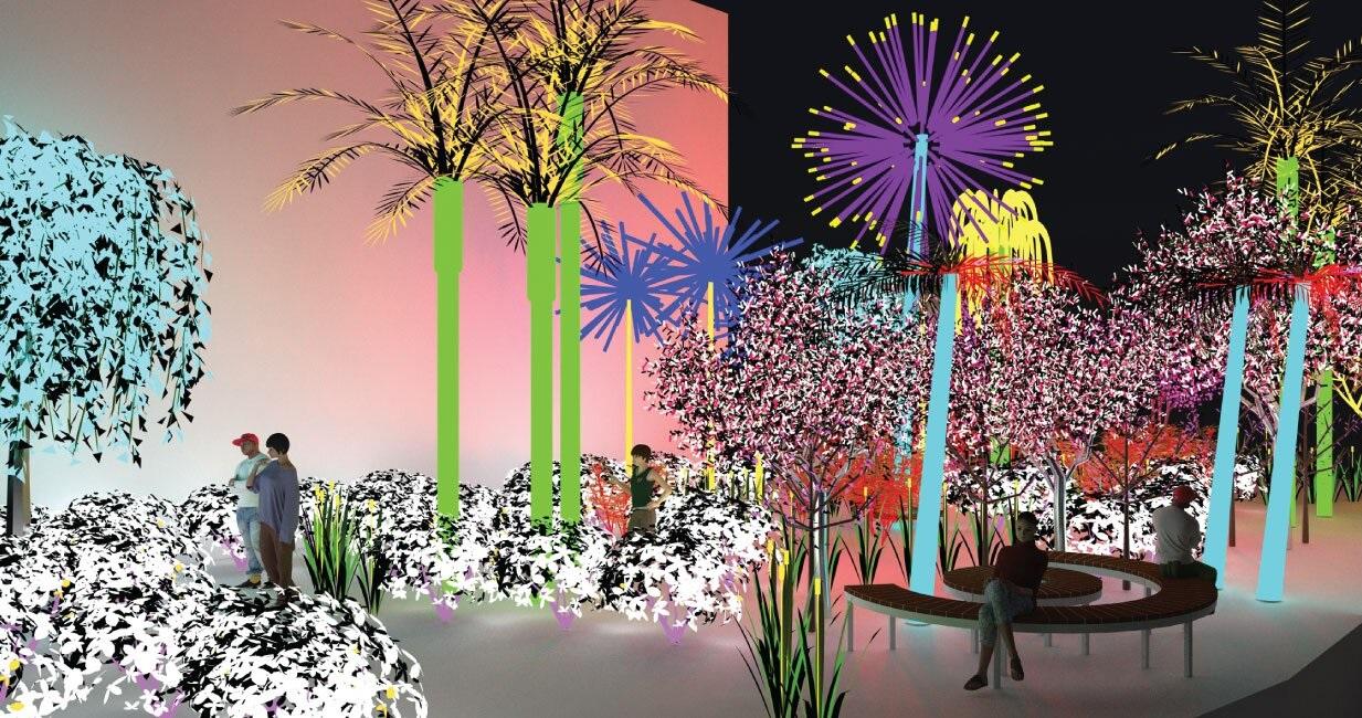Дубай в 2018 году - новые проекты и открытия - Электрический ботанический сад в центре искусств Jameel Arts Centre