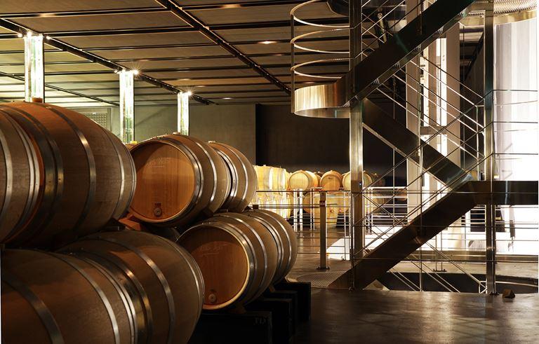 Столетнее французское вино от Château Cos d'Estournel - винотека с бочками