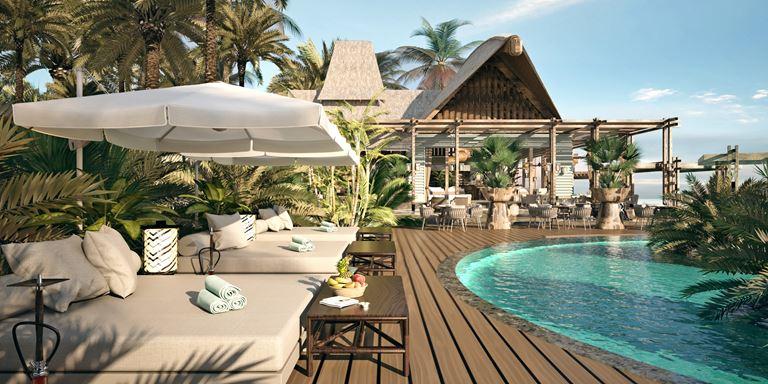 Искусство гастрономии на новом курорте JOALI Maldives - бар на пляже у бассейна