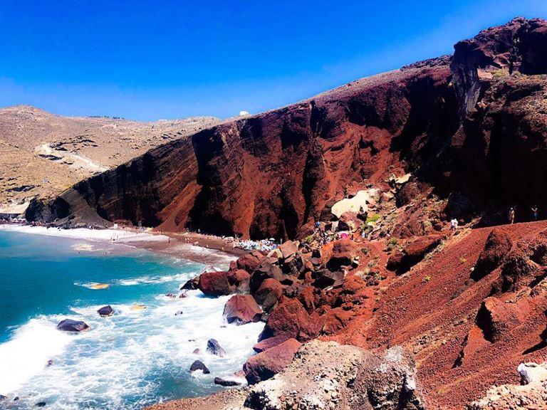 Цветные пляжи мира - Красный пляж (Греция, остров Санторини)