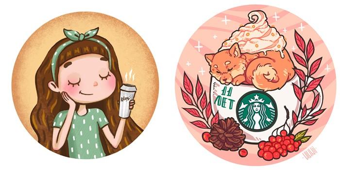 Праздничный сентябрь со Starbucks: наклейки-стикеры