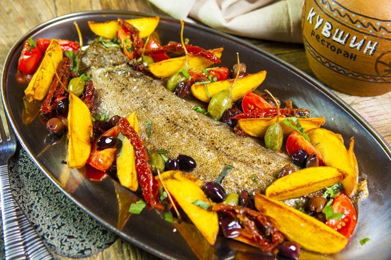 Ctзонное меню в грузинском ресторане «Кувшин» - запеченный с овощами морской язык