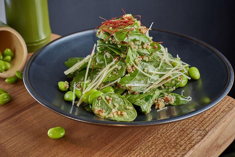 Правильное питание с японским акцентом в SHIBA -  Зеленый салат из шпината и бобов эдамамэ