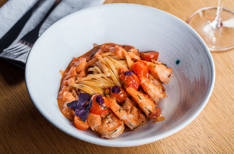 Новинки в ресторане Molto Buono 2.0 - лингвини с креветками