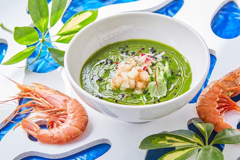 Рецепт зелёного гаспачо с креветками от ресторана Erwin.Река