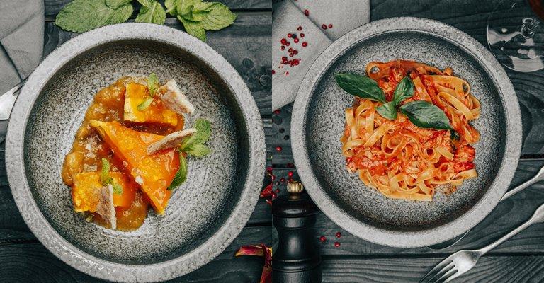 Обновленное меню в ресторане CULT - Чизкейк с манго и банановым вареньем/Тальятелле с камчатским крабом