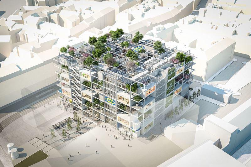 Отель JO&JOE и магазин IKEA в семиэтажном здании в Вене