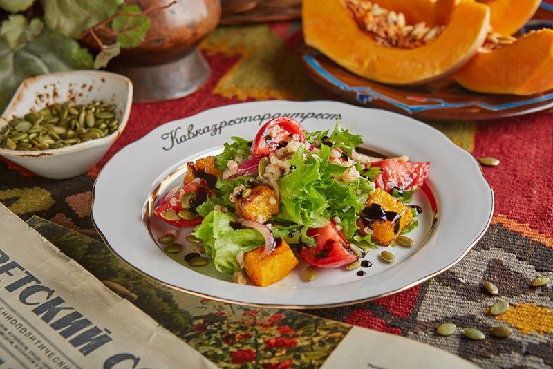 Рецепты постных овощных салатов -Салат с тыквой и булгуром