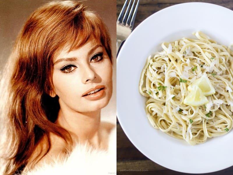 Знаменитости и их любимая паста - Софи Лорен - паста с лимонным соусом