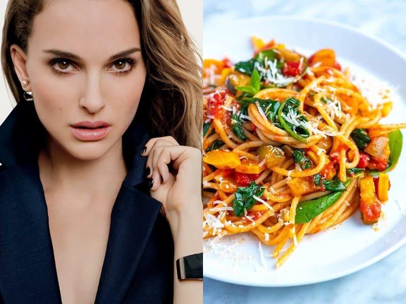 Знаменитости и их любимая паста - Натали Портман - веганская паста с овощами